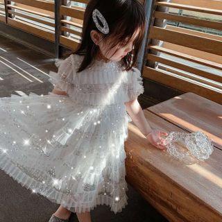 Váy bé gái💃💃💃 váy công chúa đính hạt cườm trắng💃💃💃 váy công chúa lấp láp xinh iuu😍😍😍