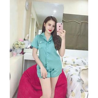 Xả kho đồ bộ pijama phi lụa bèo đùi Xanh Ngọc siêu hot hit – (HÌNH THẬT) Đồ bộ ngủ pijama lụa xanh ngọc(còn nhiều màu)