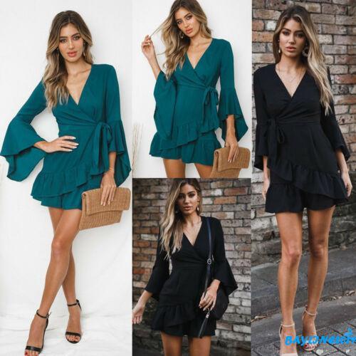 ❀Yaho❀Boho Womens Summer Mini Dress Ladies V Neck Holiday Beach Party Floral Sundress