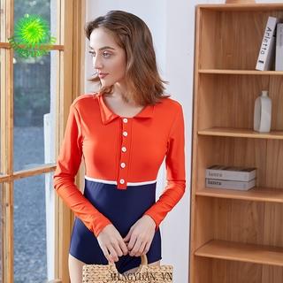 (Mingyuan) Red and blue long-sleeved one-piece bikini thumbnail
