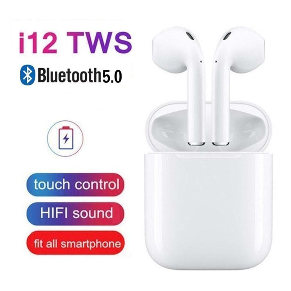 Tai nghe bluetooth không dây i12 Âm Thanh Cực Hay - Có Mic Đàm Thoại - Bluetooth 5.0 ( nghe 2 tai có ảnh thật )