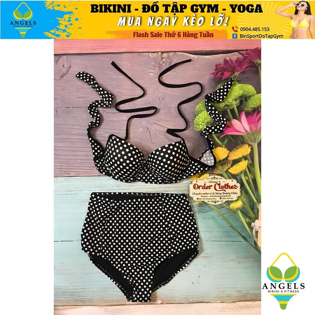 Bikini,Bộ Đồ Bơi Hai Mảnh Tay Chấm Bi Đen Sexy Mặc Đi Biển BHV015