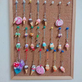Móc khóa, móc điện thoại, hoa tai kem cây, bánh ngọt, cupcake handmade bằng đất sét Nhật kaiwaii