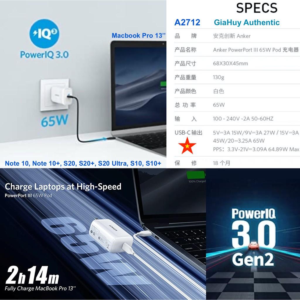 Củ sạc Macbook Pro, iPad Pro, iPhone 12, Note 10+, Note 20 Ultra, S20 ANKER PowerPort III Pod 65W PIQ 3.0 Gen2 - A2712