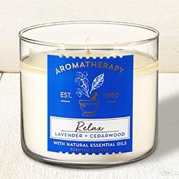 Nến thơm 3 tim Relax Lavender + Cedarwood - Bath & Body Works (411g)