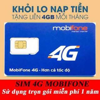 FULL 12 THÁNG. Sim 4G Mobi 1 năm- 4Gb/tháng – trọn gói 1 năm không phải nạp tiền