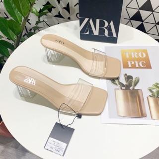 Giày cao gót quai trong gót vuông mũi cắt vuông màu be cao 5p hàng cao cấp có hộp