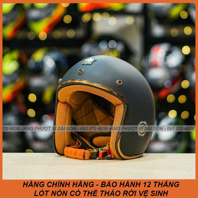 [Mũ tháo rời lót được] Mũ bảo hiểm 3/4 Royal m20c đen nhám, nón bảo hiểm kính âm đen mờ chính hãng