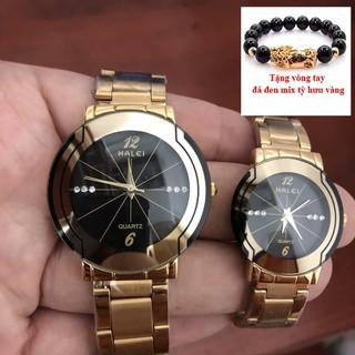 Đồng hồ đôi HALEI- TẶNG 1 vòng tỳ hưu phong thủy may mắn (BL. dây vàng mặt vàng)
