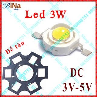 Chip LED 1W/3W 3-4V, Đế tản (mua riêng)