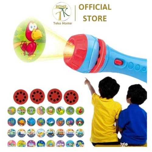Đèn pin chiếu hình cho bé(Có sẵn) 24 hình động vật ngộ nghĩnh, đồ chơi cho bé phát triển trí tuệ bé vui chơi