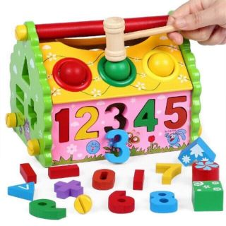 Ngôi nhà thả hình,đập bóng,lắp ráp_ đồ chơi giáo dục an toàn cho bé