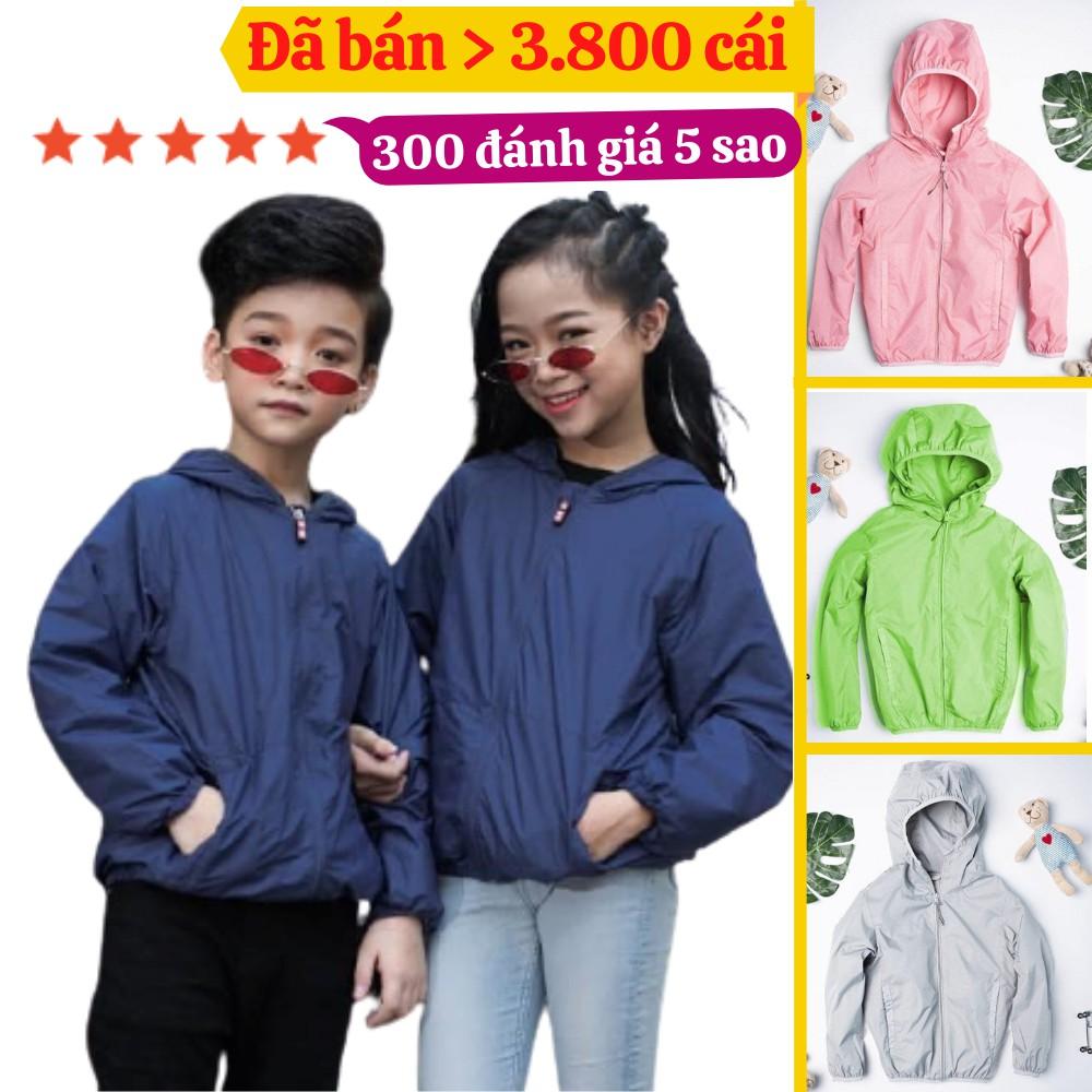 Áo khoác gió cho bé trai, bé gái từ 5 - 14 tuổi, chất vải dù ngoại chống nước và gió rét Xưởng Hipp, KGTE