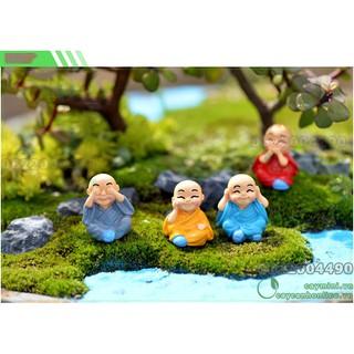 Tượng Nhà sư vui vẻ – Mô hình tượng Mini, trang trí tiểu cảnh terrium, sân vườn, quà tặng lưu niệm, trang trí xe hơi