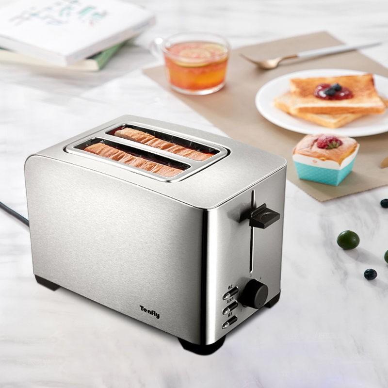 ☽♞﹍Máy nướng bánh mì Tenfly thép không gỉ của Đức gia đình làm nóng nhỏ 2 lát