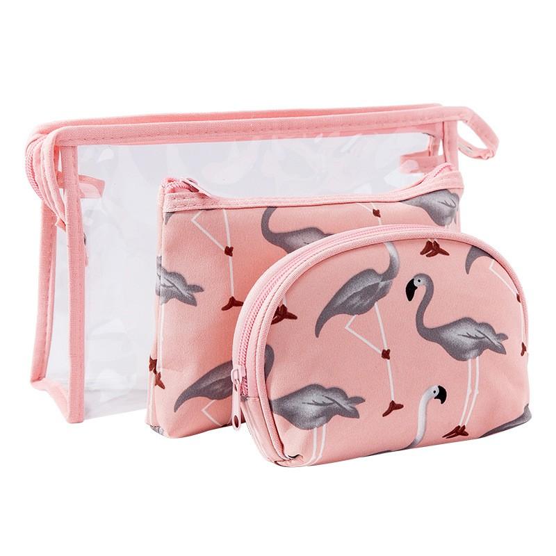 Bộ 3 túi đựng đồ trang điểm hình con cò