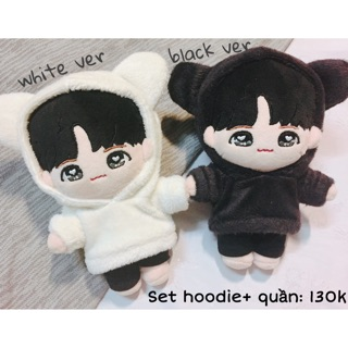 Hoodie gấu + quần cho doll 20cm