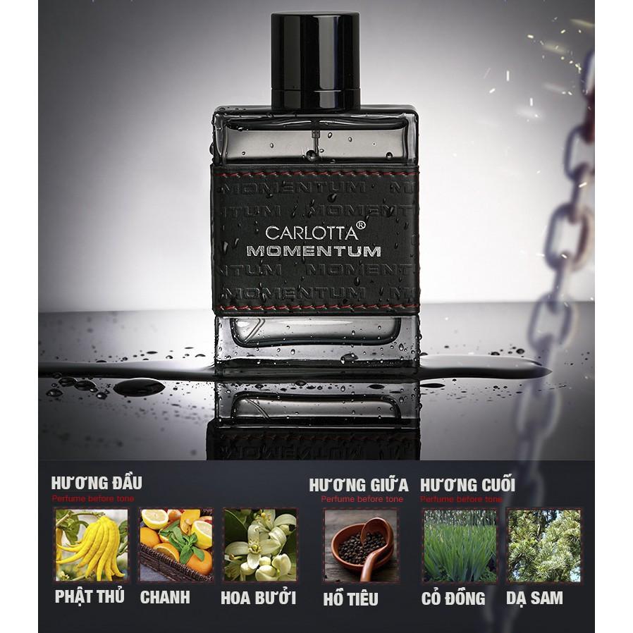 Nước hoa nam cao cấp Cologne CARLOTTA MOMENTUM thươ ng hiệu Ý, mùi hương duy trì lên đến 8h, giúp bạn luôn tự tin và toả