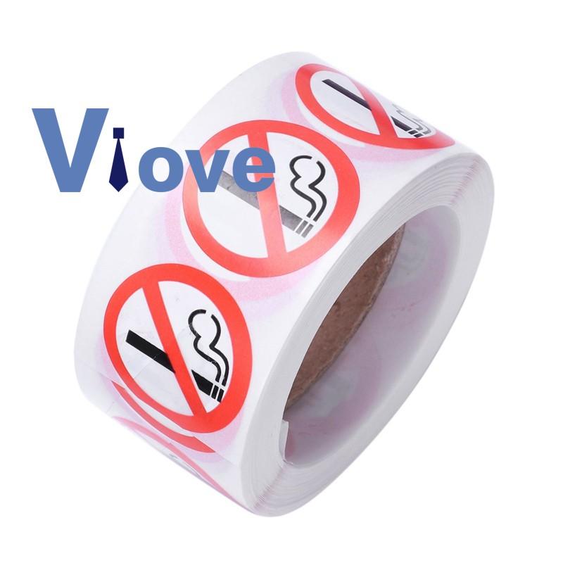 No Smoking Logo Warning Stickers 1 foot Round 500 Total Per Roll