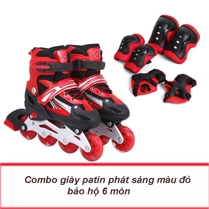 Combo giày patin phát sáng + bảo hộ patin