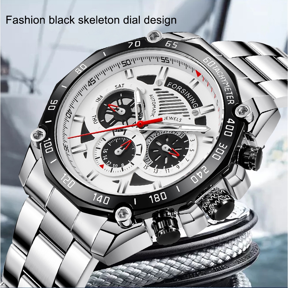 Forsining Original Men's Fashion Automatic Mechanical Watch, New Stainless Steel Sports Watch, Hollow Business Casual Watch
