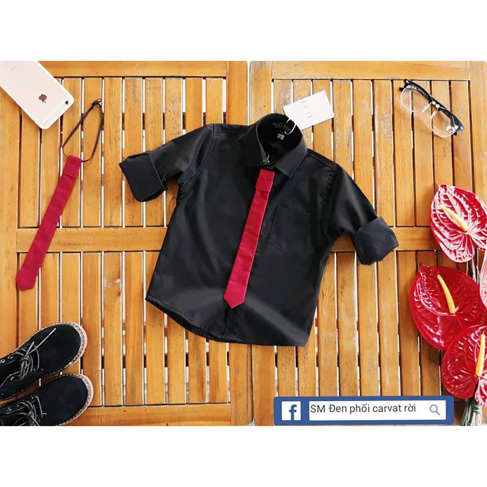 [Mã FAMAYFA2 giảm 10K đơn 50K] Áo sơ mi màu đen, kèm cà vạt rời cho bé trai