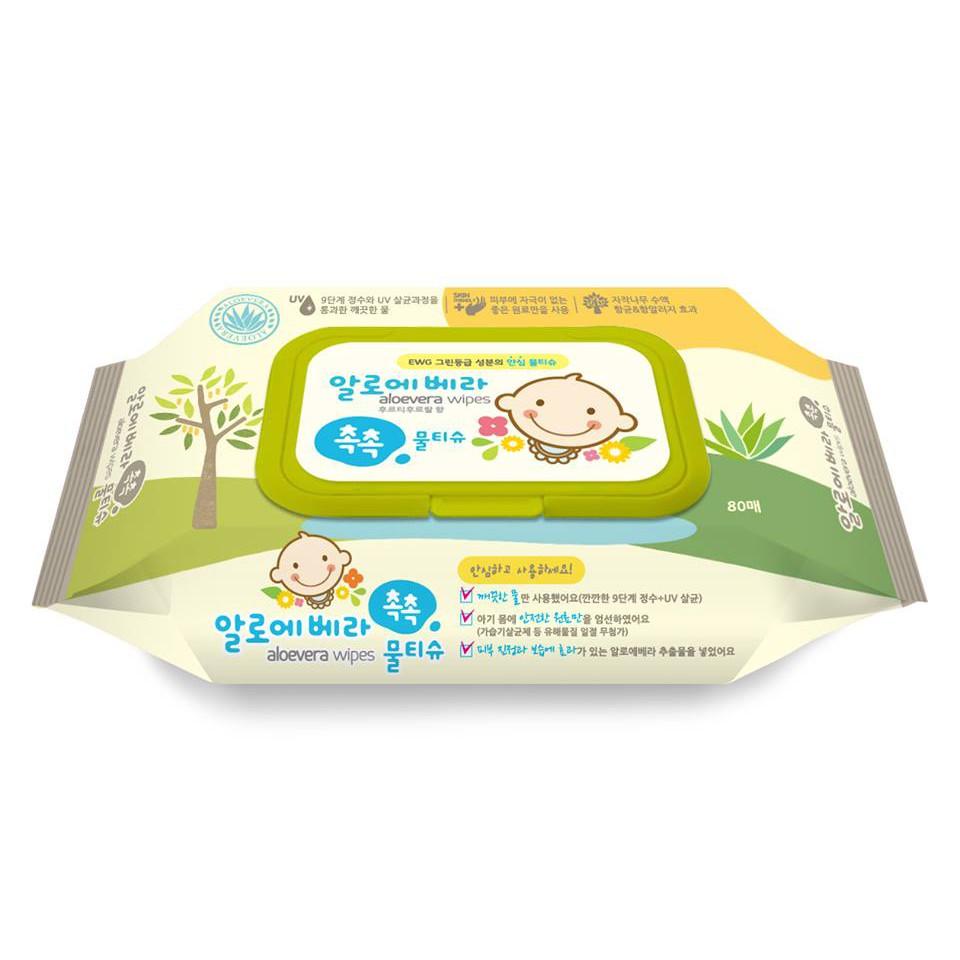 Khăn ướt Living Aloe Vera Chok Chok - loại 80 tờ/gói