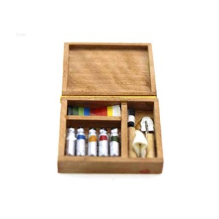 💗Sunei💗Miniature Artist Paint Pen Wooden Box For 1:12 Dollhouse Accessory