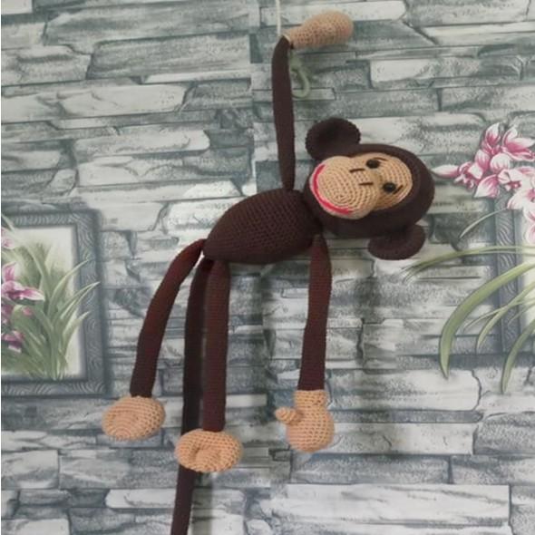 Khỉ đan len nhồi bông bằng tay