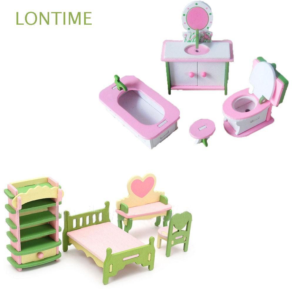 Set đồ chơi nội thất mini bằng gỗ cho bé