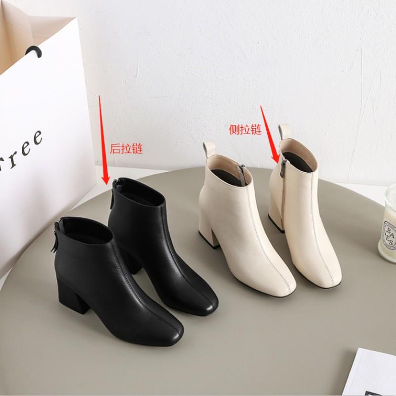 Giày bốt nữ cao gót cổ ngắn cho nư cao 5 cm mang xinh hơn, bốt nữ siêu đẹp da mềm hai màu đen - kem trắng