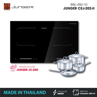 Bếp đôi điện từ Junger CEJ-202-II - Công suất 4000W - mặt kính Ceramic | Bảo hành 2 năm chính hãng | MADE IN THAILAND