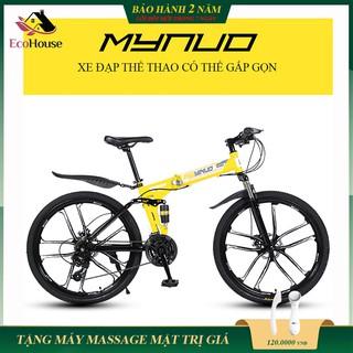 Xe đạp địa hình, xe thể thao MYNUO gấp gọn, khung thép siêu bền chắc chắn, bảo hành 2 năm, lỗi đổi mới trong 7 ngày đầu thumbnail