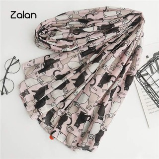 Zalan Cats Long Thin Scarf Women Travel Sun Stole Decor
