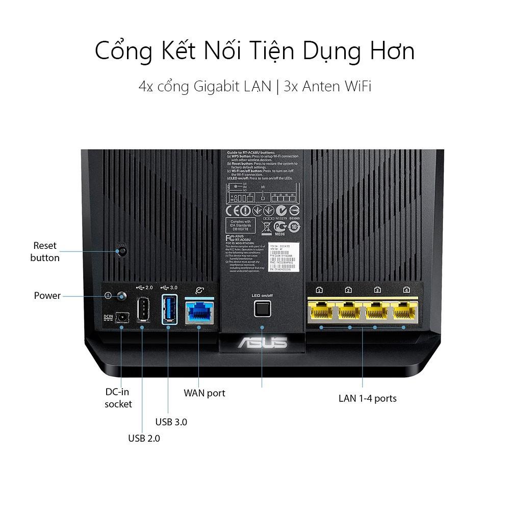 Thiết bị mạng Asus RT-AC68U chuẩn AC1900/3