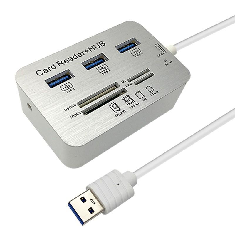 Cáp máy tính chuyển tính hiệu cổng USB ra 3 cổng Usb 3.0 + 4 cổng đầu đọc thẻ - Card reader đa năng - Hub Usb 3.0