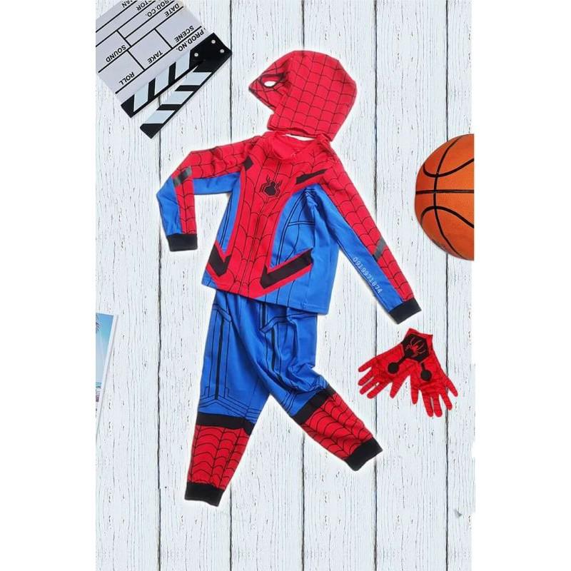 [Mã SKAMA8 giảm 8% đơn từ 300k] Quần áo siêu nhân Người Nhện - SpiderMan bộ đồ siêu nhân kèm mũ trùm bao tay