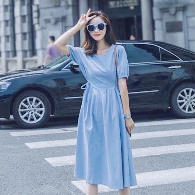 Đầm blue tùng xoè xếp li