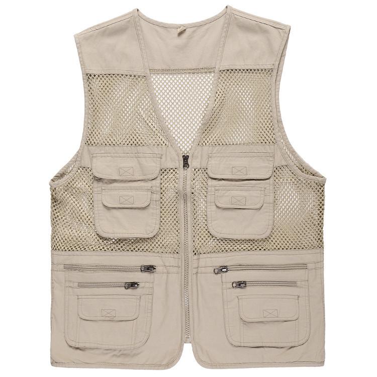 Áo Vest Câu Cá Vải Cotton Phối Lưới Mỏng Thoáng Khí Nhiều Túi Dành Cho Nam