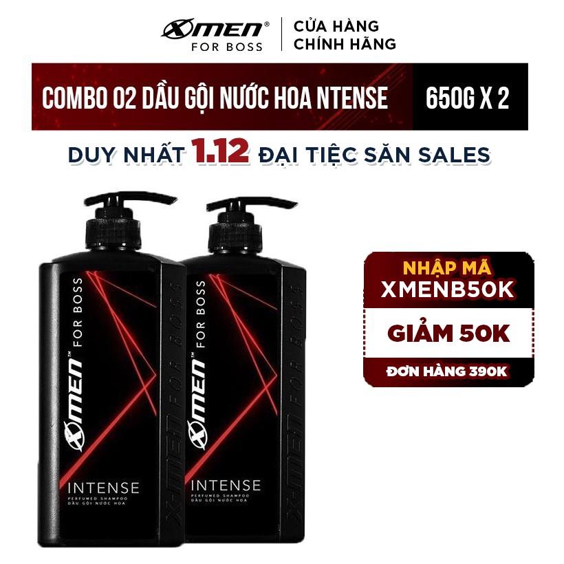 [Mã FMCG60 - 10% đơn 250K] Combo 2 Dầu Gội Xmen for boss Hương Trầm Nội Lực Intense 650g/chai