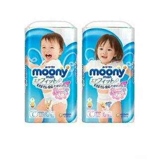 Bỉm moony nhập khẩu tã quần dán nb90 s84 m64 l44 xl38