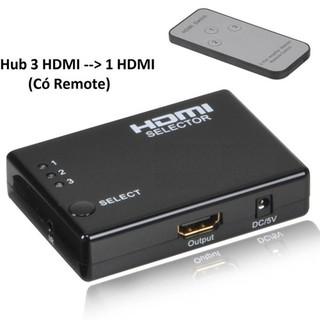 [Mã ELFLASH5 giảm 20K đơn 50K] Hub 3 HDMI ra 1 HDMI - có Remote