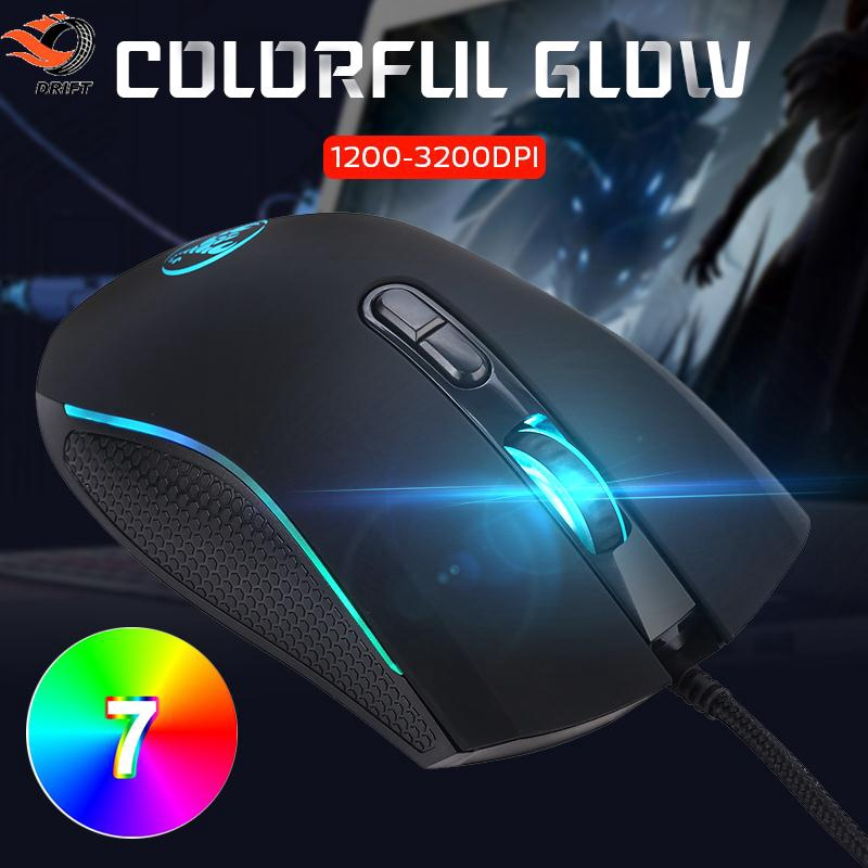 DR MacBook USB Wired Mouse Optical Mice 7 Keys Black Control Working Gaming Portable