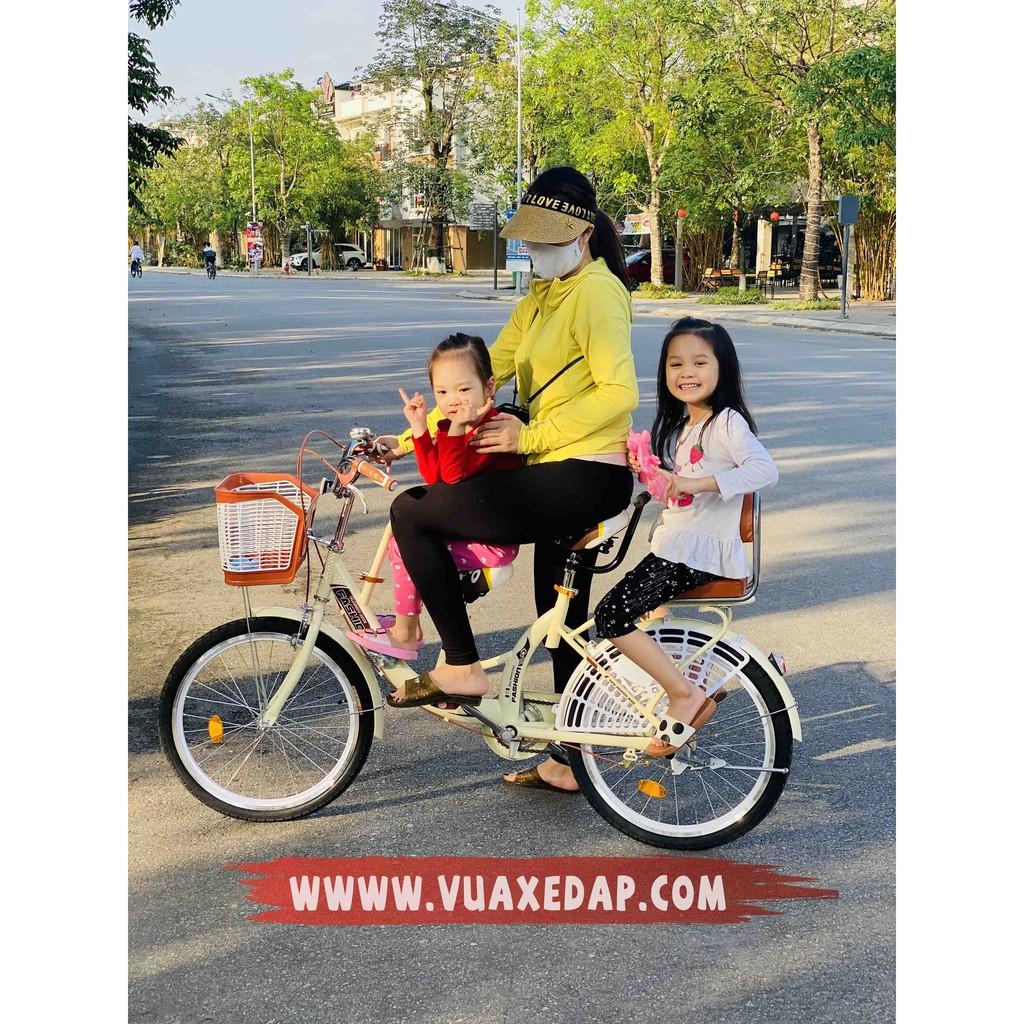 Xe đạp bỉm sữa 3 chỗ ngồi cho gia đình 3 mẹ con Fashion