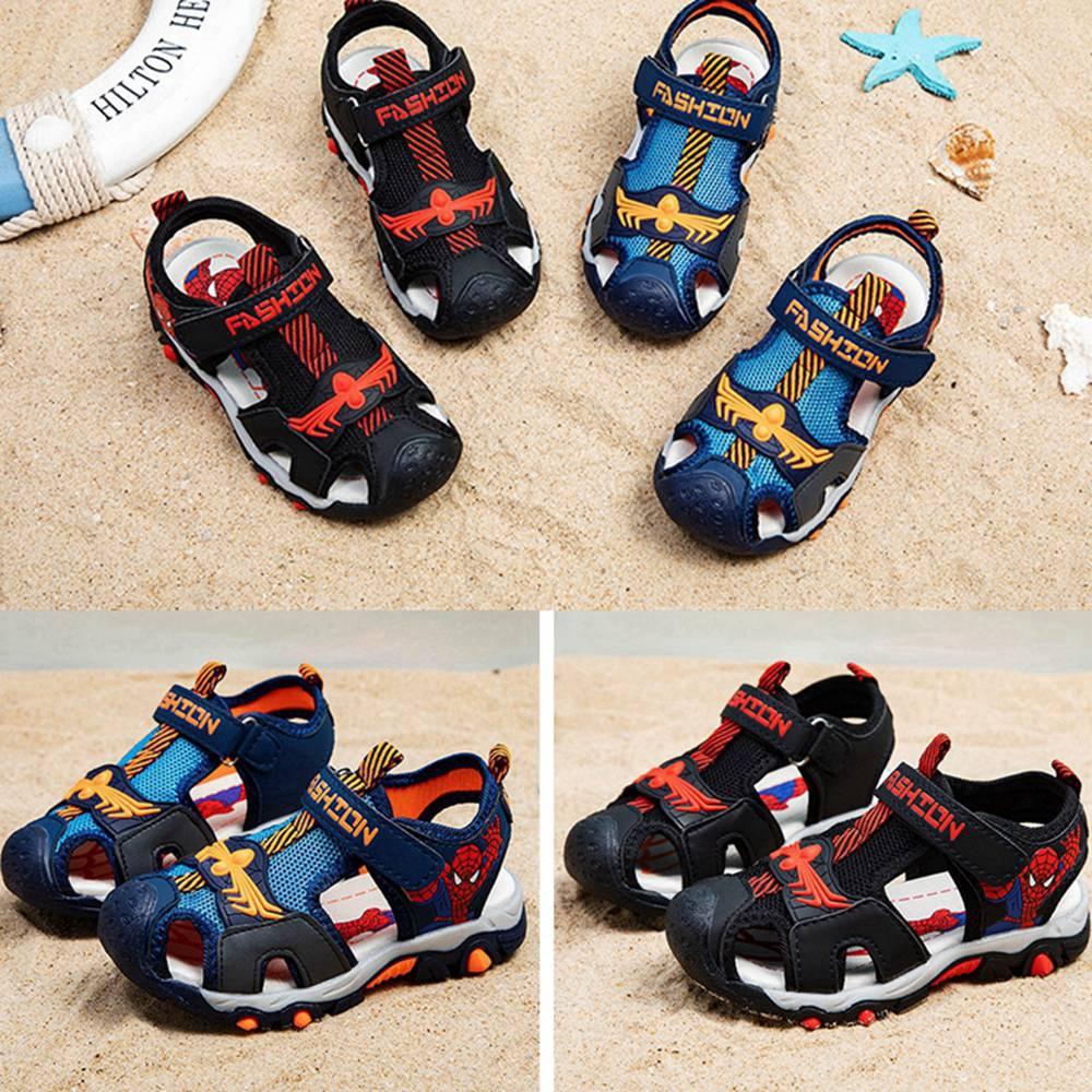 Giày Sandal In Hình Người Nhện Cho Bé Trai