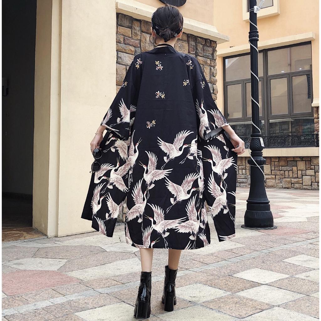 ✹▦☢Summer Japanese kimono Ulzzang long crane print thin sunscreen coat male and female Harajuku cardigan students