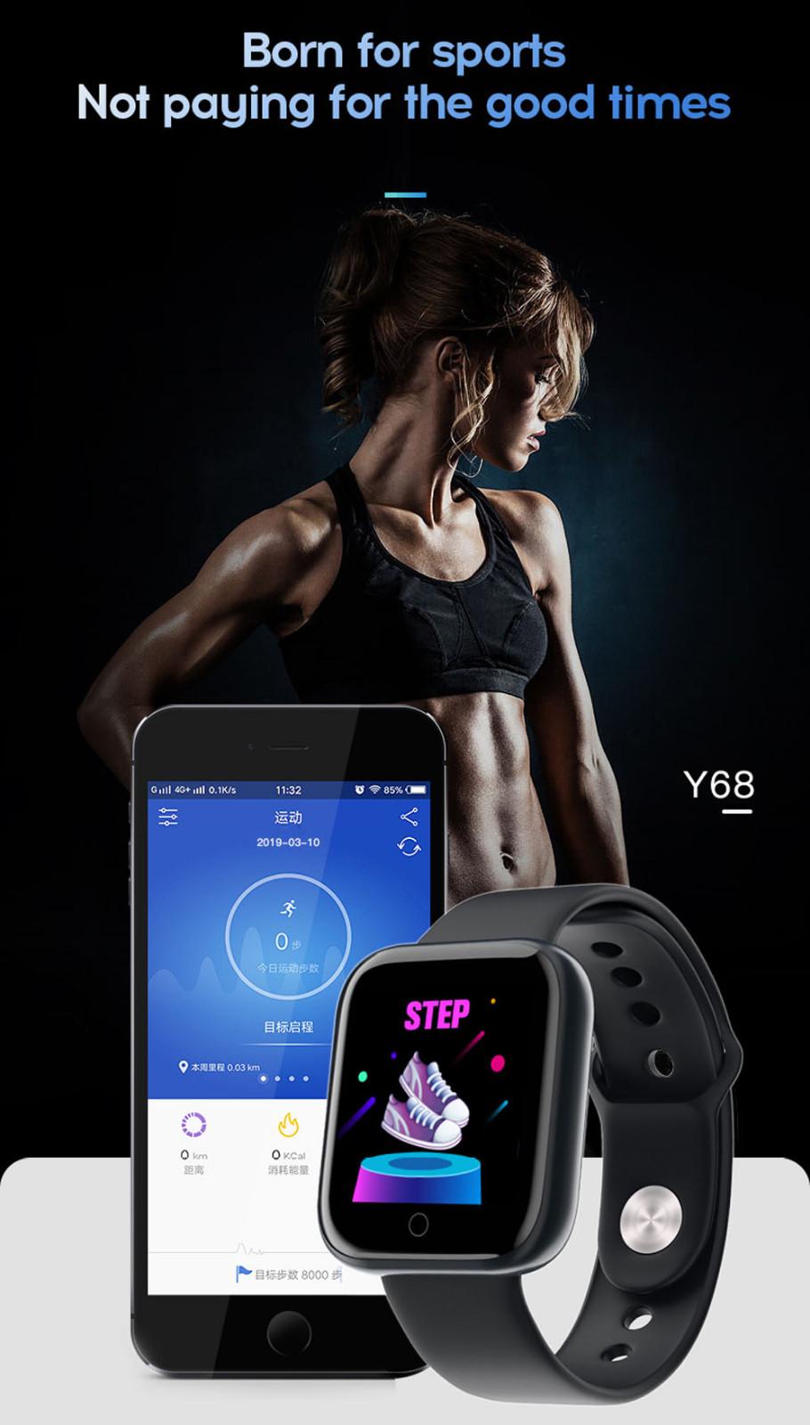 Đồng Hồ Thông Minh Y68 Theo Dõi Sức Khỏe Cho Apple Ios Android