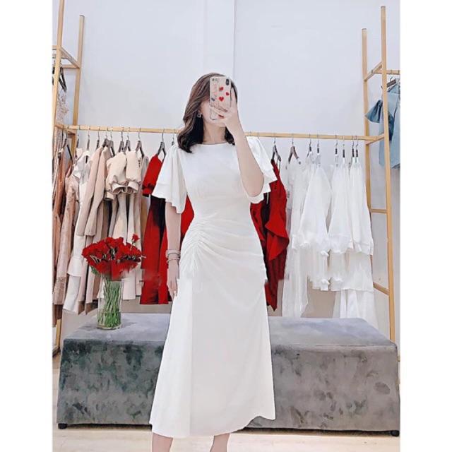 [Mã WAMST112 giảm 25k đơn 150k] Đầm đi tiệc sang trọng nhún váy tay loe 2 tầng