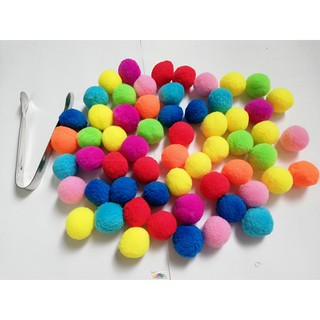 Pom pom nhiều màu đường kính 2.5cm kèm kẹp gắp inox dài 11cm