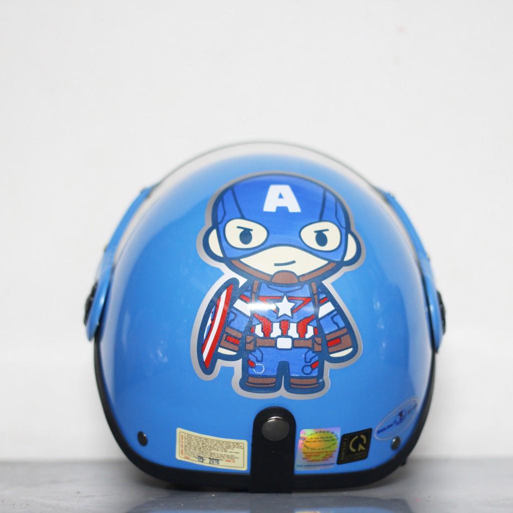 Mũ bảo hiểm cho bé Đại úy captain america Xanh Hàng chính hãng bảo hành 2 năm